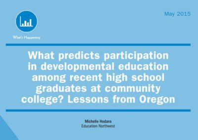 What predicts participation in developmental education among recent high school graduates at community college? Lessons from Oregon